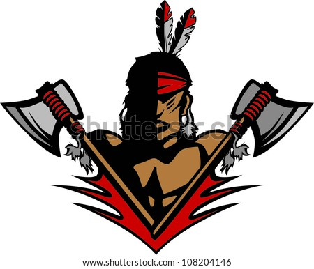 Native American Indian Brave Mascot Graphic with Tomahawks and Feathers - stock vector