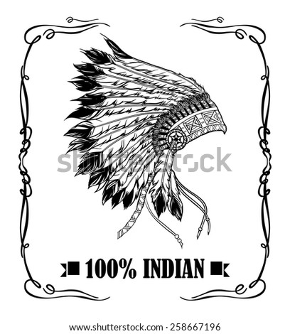 Native american indian chief headdress. Whiskey label design. Vector illustration in black and white style - stock vector