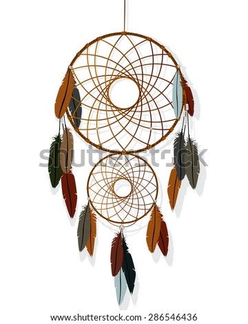 Native American-Indian dream catcher against white background - stock vector