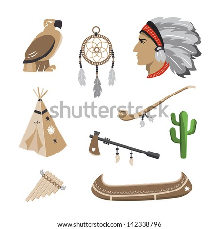 Native american indian icons - stock vector