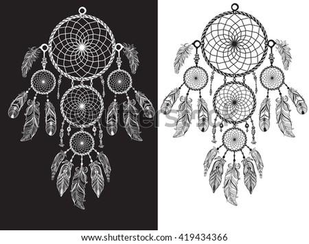Native American Indian talisman dreamcatcher - stock vector