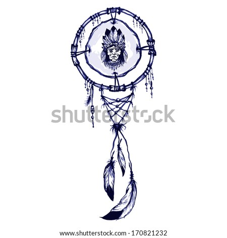 native american shamanic symbol with native american man portrait - stock vector