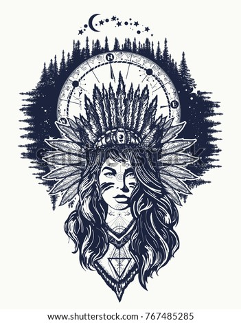 Native American woman and compass tattoo art. Ethnic girl warrior and night forest t-shirt design
