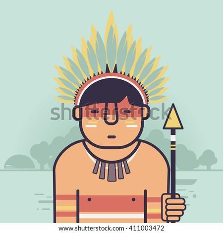Native Brazilian, indian icon. Amazon - stock vector