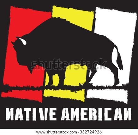 native buffalo - stock vector