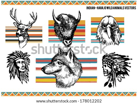 Native Indian people and animals vector set