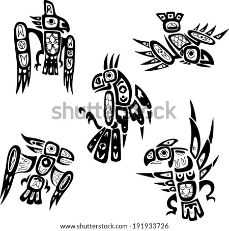 Native indian shoshone tribal drawings. Birds. Vector set.