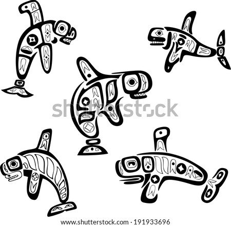 Native indian shoshone tribal drawings. Whales. Vector set.