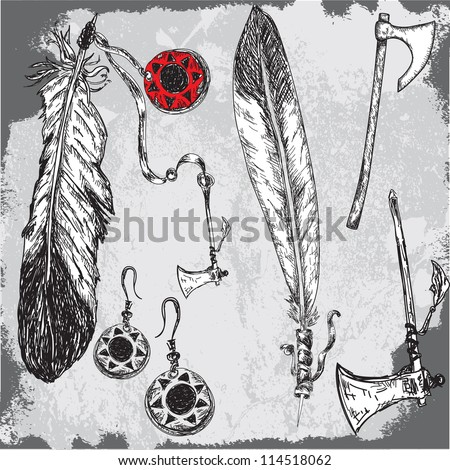 native indians feathers and other traditional elements - stock vector
