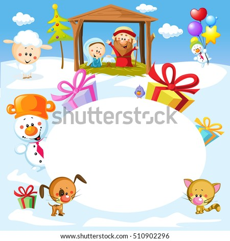 Nativity in Bethlehem with animals - Christmas vector oval frame illustration