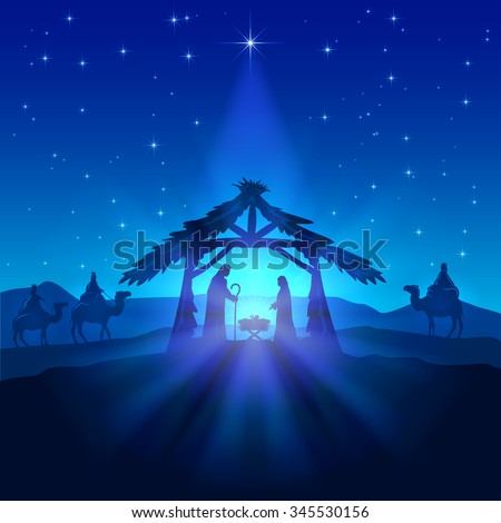 Nativity scene, Christmas star on blue sky and birth of Jesus, illustration. - stock vector