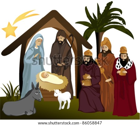 Nativity scene with  holy family - stock vector