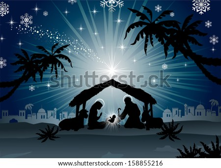 nativity scene with the Holy Family  of oriental landscape-blending effects and transparency gradient mesh-EPS10 - stock vector