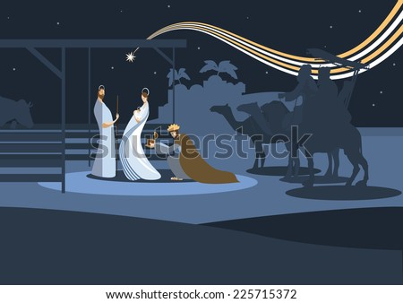 Nativity scene with the three wise men and the child Jesus. In modern flat color style. - stock vector