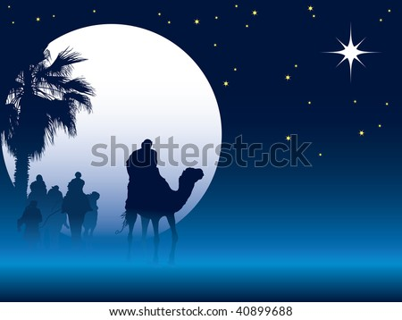 Nativity scene with wise men on camels going through the desert - stock vector