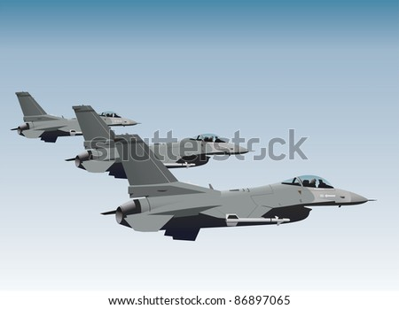 NATO fighter jets in formation vector image - stock vector