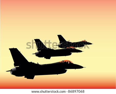 NATO fighter jets in sunset flying in formation vector image - stock vector