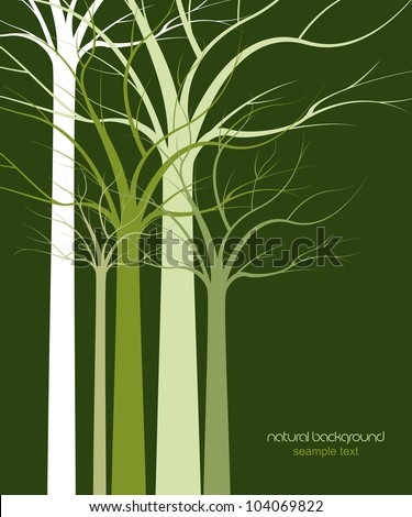 natural background of trees without leaves - stock vector