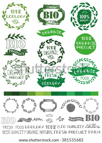Natural,bio,eco, green logotype creator.Vector green,ecology logo creator,badges, label set,ribbons,isolated element,laurel wreath,frame,lettering title.Organic design template,menu.Hand drawing stamp - stock vector