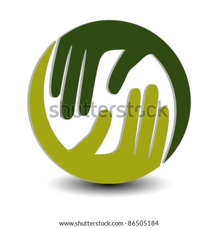Natural caring hands in 3D vector design. - stock vector