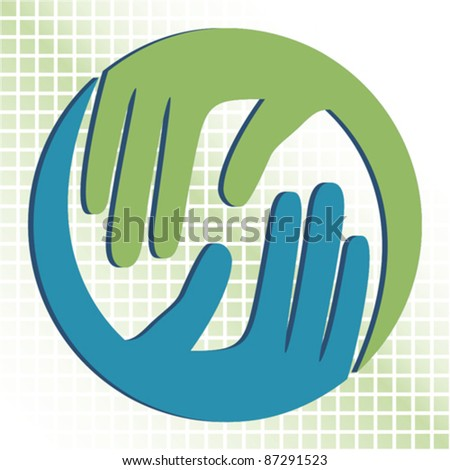 Natural caring hands in 3D vector design.