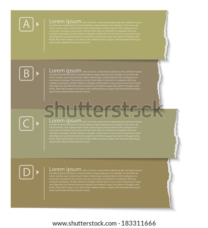Natural color torn paper tabs - stock vector