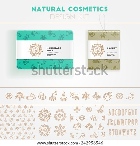 Natural cosmetics design kit with seamless pattern and logo templates. - stock vector