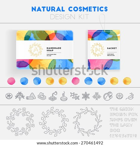 Natural cosmetics design kit with watercolor pattern and logo templates. - stock vector