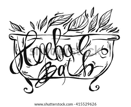 Natural cosmetics handwritten calligraphic label of Luxury Bubble Bath,Beautiful bath oil with a sprig of rosemary,pure fragrance oils,floral milk bath , Body Lotion ,Soak.Lettering.