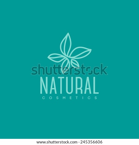 Natural cosmetics logo design vector template. Green leaves icon - stock vector