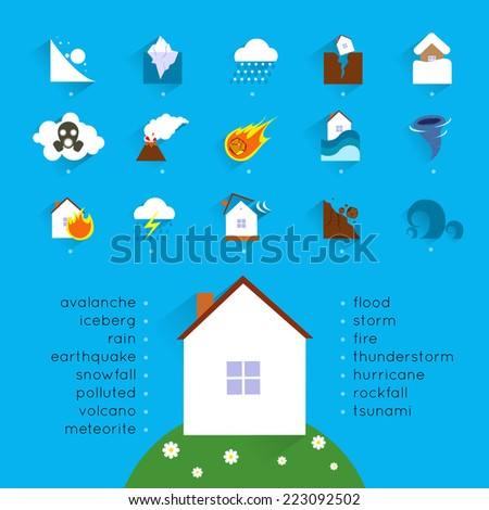 Natural disaster accident concept with danger icons set and house vector illustration - stock vector