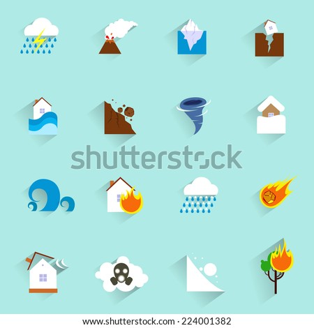 Natural disaster catastrophe and crisis icons flat set isolated vector illustration - stock vector