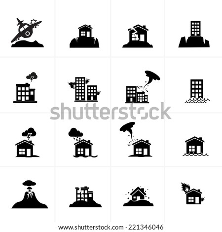 Natural Disaster Icon Set - stock vector