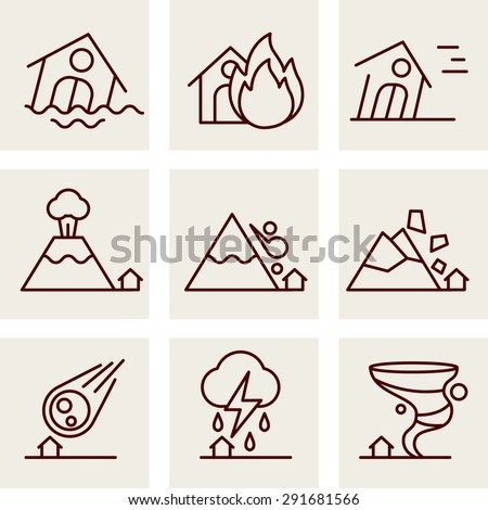 Natural Disaster Icons vector line style - stock vector