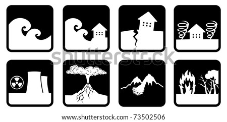 Natural disasters and catastrophes icon (devoted events in Japan) - stock vector
