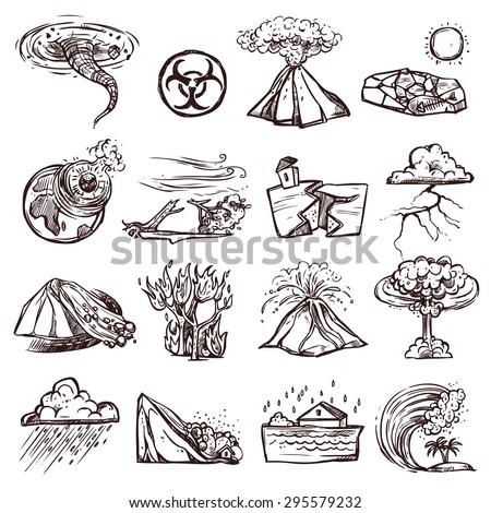 Natural disasters earthquake tsunami volcanic tornado and other cataclysm doodle sketch hand drawn isolated vector illustration - stock vector