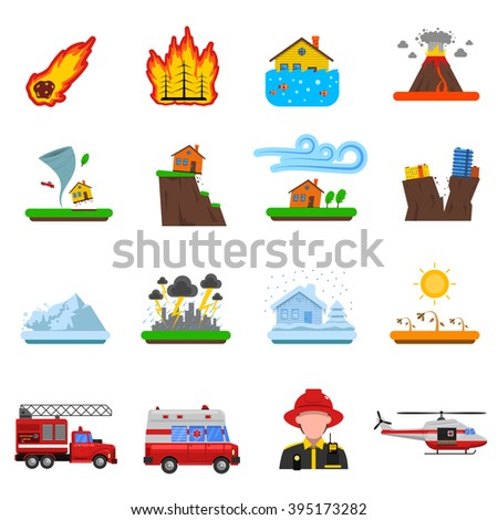 Natural disasters flat icons set with forest fire tsunami wave and earth quake symbols abstract isolated vector illustration   - stock vector