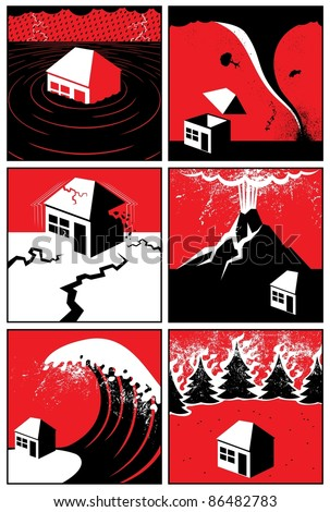 Natural Disasters: Set of 6 illustrations/icons of natural disasters. No transparency and gradients used. - stock vector