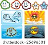 Natural element cartoon set - stock vector