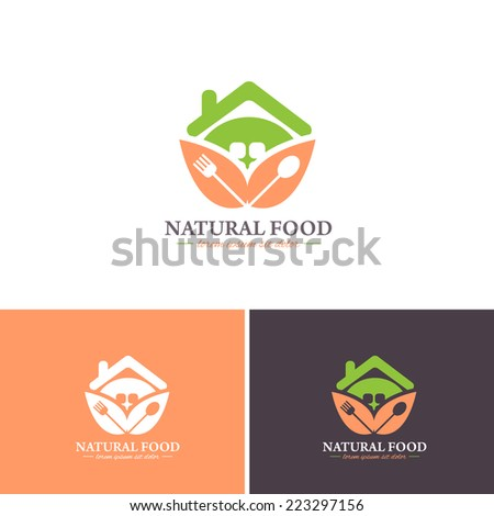 Natural Food and Home Cooking Vector Icons, Logos, Sign, Symbol Template  - stock vector