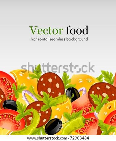 natural food horizontal seamless background vector illustration - stock vector