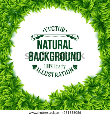 Natural frame of fresh green spring leaves surrounding a central copyspace with a white background and editable text in square format, vector illustration - stock vector