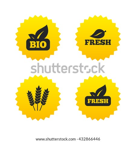 Natural fresh Bio food icons. Gluten free agricultural sign symbol. Yellow stars labels with flat icons. Vector - stock vector