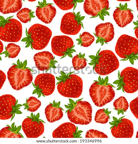 Natural fresh organic garden and forest strawberry seamless pattern vector illustration - stock vector