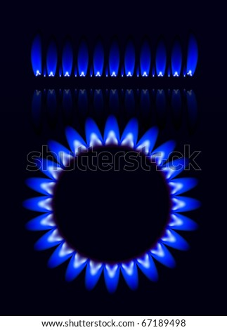 Natural gas flame isolated on black background - stock vector