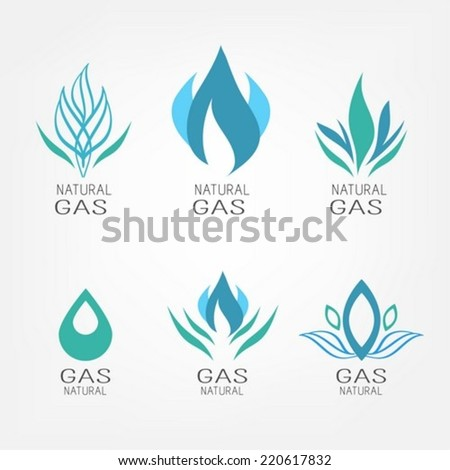 Natural gas icons - stock vector