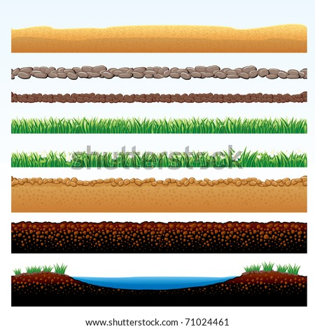 Natural Grass and Ground Seamless borders - set of vector cartoon illustrations of grass field, stone roadway, desert sands, cobblestone way - objects grouped - stock vector