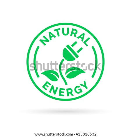 Natural green eco energy icon symbol with electric plug, plant and leaf stamp sign. Renewable self sufficient natural electricity power sign. Vector illustration. - stock vector