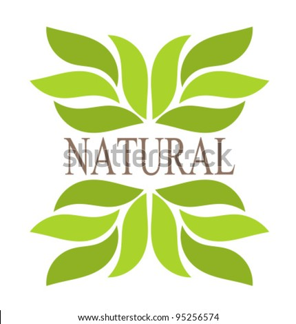 Natural green leaves border. Vector illustration - stock vector