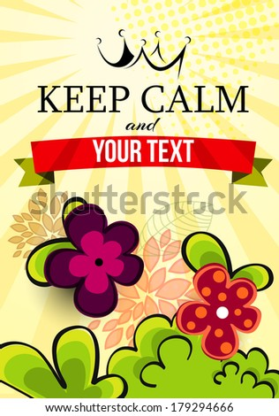 natural green spring background with abstract flower and words keep calm  - stock vector